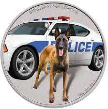 Niue 1 Oz Silver Belgian Malinois 2016 Color POLICE DOG *Diesel* K-9 UNIT