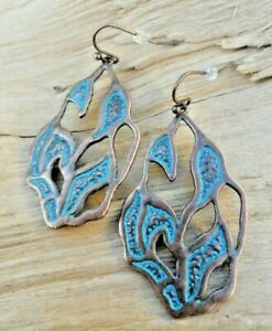 Ocean Waves Textured Patterned Copper Effect & Turquoise Cutout Earrings 4cm NEW