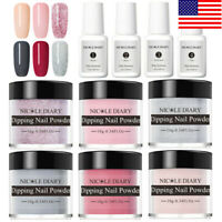 10Pcs NICOLE DIARY Dipping Powder Nail Dip System Liquid  Red Starter Kit