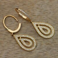 0.48Ct Round Cut Diamond Dangling Drop Earrings 14K Yellow Solid Gold Finish