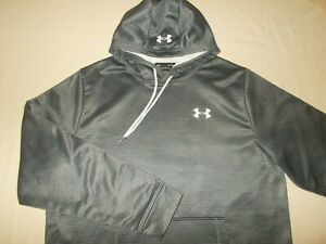 UNDER ARMOUR STORM COLD GEAR GRAY PRINT HOODED SWEATSHIRT MENS XL EXCELLENT