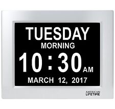 American Lifetime Large Impaired Vision Digital Day Clock 5 Alarm options White