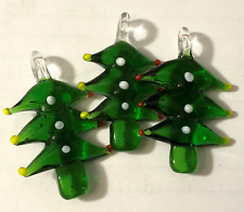 (3) Christmas Tree Lampwork Glass Murano Pendant Necklace Miniature Jewelry