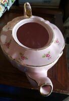 Vintage Sadler Teapot 2353 Chintz Pink Roses Gold Trim England Porcelain