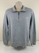 Burberry London Grey 1/4 Zip Sweater Mens Size L Large Nova Check Pullover EUC