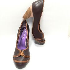 Women's Poetic Licence Brown Leather Vintage Inspired Pumps Size 6.5 M