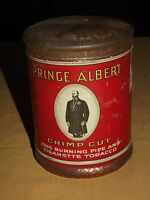 VINTAGE OLD PIPE & CIGARETTE PRINCE ALBERT CRIMP CUT  SMOKING  TOBACCO TIN CAN