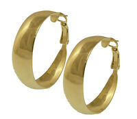 "18K Gold Plated 1 1/4"" Hoop Earrings - LIFETIME WARRANTY"