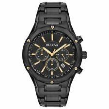 Bulova Mens 98B287 Chronograph Watch Black Stainless Steel Black Dial NEW CASE