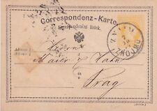 CECOSLOVACCHIA 1874 znojmo a Praga prepagata cartolina in buonissima condizione