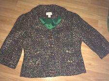 Ann Taylor loft size 2 blazer jacket tweed 3/4 sleeve wool green brown white
