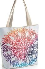 Shoulder Bag-tote White zip up-retro print shopper-Multi colour floral motif