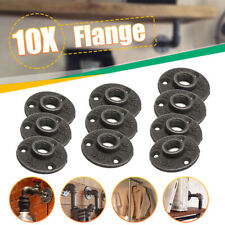 10pcs 1/2'' Malleable Thread Floor Flange Pipe Fittings Wall Mount Industrial