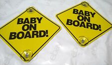 2pc Baby on Board Safe Sign, 2 Stay-put Suction Cups Yellow Plastic Brand New