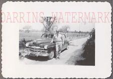 Vintage Car Photo Man w/ Roadside 1949 Plymouth Automobile 728198