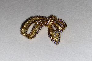 Breathtaking Bow - Nolan Miller Glamour Collection Rhinestone Ribbon Pin/ Brooch