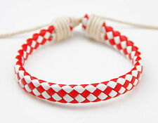 fashion red and white leather woven bracelet S-84