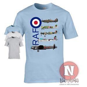 RAF WW2 aircraft T-shirt Spitfire Lancaster Typhoon Hurricane Mosquito