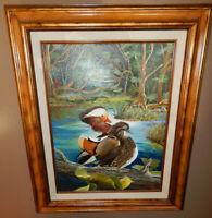 MANDARIN DUCKS original oil on canvas painting artist signed framed pond birds