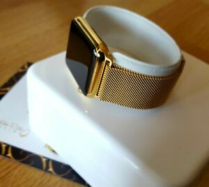 24k Gold Plated Apple Watch Series 2 Gold Links Band Milanese Loop 42mm