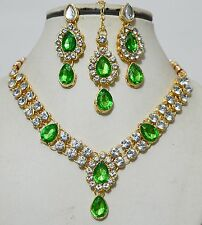 Designer Indian Gold Plated Stones Kundans Necklace Earrings Jewelry Set-B7A