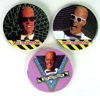 Max Headroom 3 Large 3 Inch Pinback Buttons Pins Badges Original 1987 near MINT
