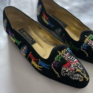 J. Renee Women's Multicoloured Carnival Patterned Black Slip On Shoes - Size 7M