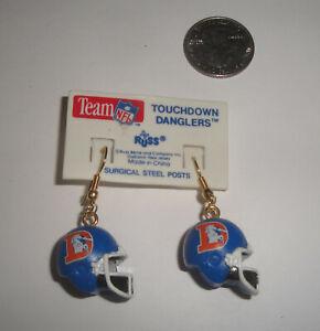 Vintage RUSS Denver Broncos 3D Football Helmet Earrings Set