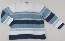 Pendleton Women's Sheer Knit Cotton Blend 3/4 Sleeve V-Neck Striped Sweater - PL
