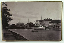 Cabinet Card Photo Boats and Buildings Wenersborg Sweden K & A Vikner 1894
