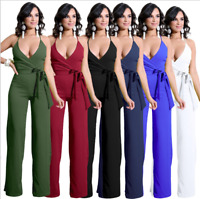 Women Casual V-neck Halter Evening Cocktail Dress Party Clubwear Romper Trousers