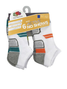 Fruit of the Loom Boys Active No Show Socks, 6 Pack Size Large