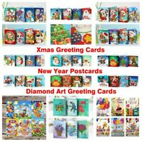 5D Diamond Painting Christmas Card Kits New Year Greeting Card Embroidery Kits