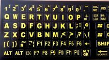 English UK Large yellow Letter on Non-Transparent black Keyboard Stickers