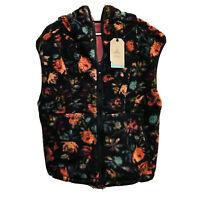 Prana Womens Polar Escape Vest Size Large Pile Fleece Black Floral Hoodie