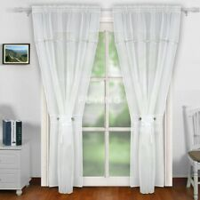 PAIR READY MADE CURTAINS  Diamante Sparkle JEWEL White VOILE TAPE TOP