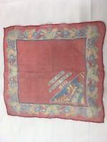 "Vintage 1939 New York NY Worlds Fair Silk Handkerchief Souvenir Red 12"" x 12"""