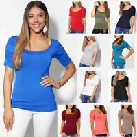 Femmes T-shirt Top Manches Courtes Uni Sexy Haut Soirée Casual Blouse