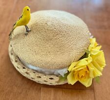 Cheryl Cuzco Women's Vintage Straw Yellow Flowers Bird Hat