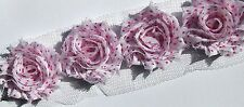 20 White with Pink dots small shabby chiffon rose flowers - trim for hairclips