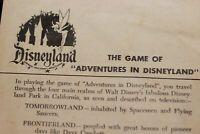 Adventures in Disneyland 1955 Game Instructions Walt Disney Tinker Bell Logo WDP