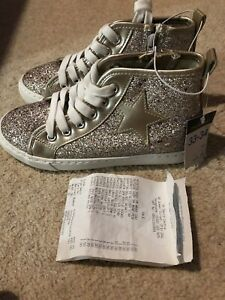 Girls Glitter Lace Up Boots Hi-Tops Size 1 BNWT
