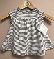 Burt's Bees Baby Girl 100% Organic Cotton Stripe Dress Gray size 0-3 Months New