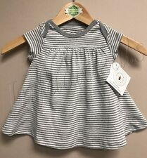 Burt's Bees Baby Girl 100% Organic Cotton Stripe Dress Gray size 12 Months New