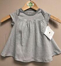 Burt's Bees Baby Girl 100% Organic Cotton Stripe Dress Gray size 6-9 Months New