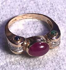 14K Yellow Gold Ruby Cabochon w/ Diamond, Sapphire & Emerald Ring  Size 6.25