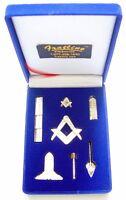 Masonic Mini Working Tool Gift Set with Lapel Pin (Bright Gold Finish)