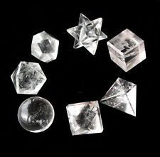 7 Rock Quartz Platonic Solids Sacred Geometry Crystal Healing With plastic pouch