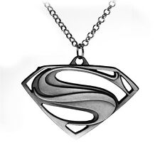 Stainless Steel Superman Necklace superhero logo symbol badge link chain pendant