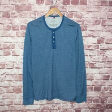 APOLIS Global Citizen Men's Long Sleeve Henley Shirt Blue Size Large